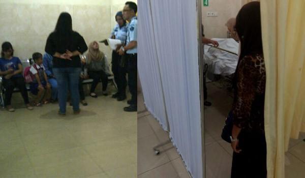 <b>Foto:</b>Keluarga Arif yang menunggu di ruma sakit RM, Jenazah Arif saat berada di RSU RM Jambi