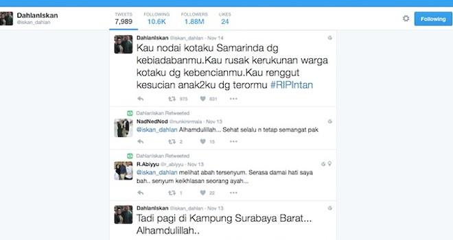 Postingan twitter mantan Menteri BUMN Dahlan Iskan yang sangat bersedih dan mengecam aksi teror di depan Gereja Oikumene, Minggu (13/11)
