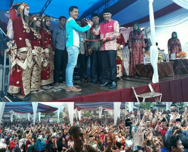 Pemuda dan pemudi serta masyarakat desa Koto Dian, Pulau Tengah mengukuhkan dukungan untuk pasangan calon nomor urut tiga ini.