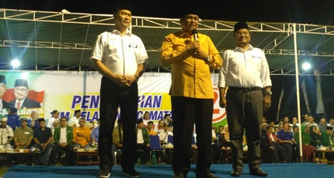 Hadiri Pengukuhan Relawan Pemenangan Fasha-Maulana di Telanaipura, Ini Orasi Politik HBA.