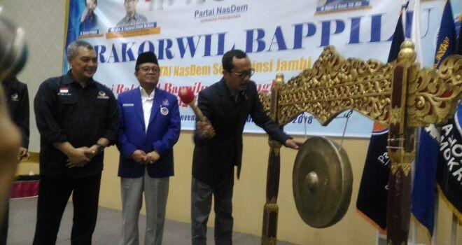 Rapat Kerja Wilayah (Rakorwil) DPW NasDem diaula Hotel Ratu, Selasa (27/3).