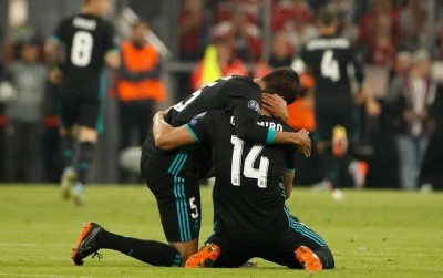 Real Madrid mencatat kemenangan ke-150 di Liga Champions pada laga tandang ke markas Bayern Muenchen. (Twitter @ChampionsLeague