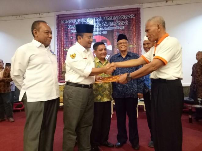 Pengukuhan tim pemenangan Fasha-Maulana untuk Keluarga Besar Tabagsel Kotajambi ini dilakukan, Selasa malam (24/4/2018) di salah satu hotel di Kotajambi.