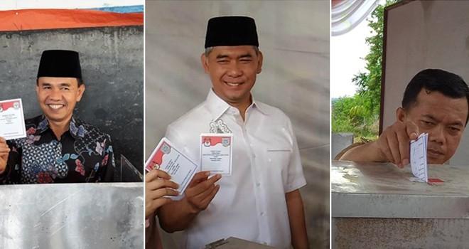 Adi Rozal, Sy Fasha dan Al Haris saat menyalurkan hak pilihnya di Pilkada Rabu kemarin (27/6)