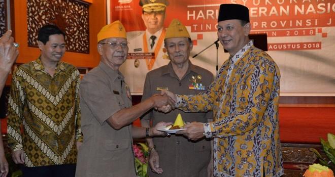 Syukuran dalam rangka Memperingati Hari Veteran Nasional Tingkat Provinsi Jambi Tahun 2018, bertempat di Auditorium Rumah Dinas Gubernur Jambii, Jumat (10/08).