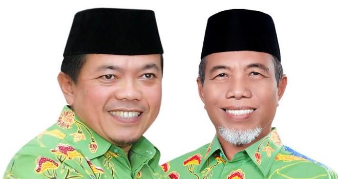 Bupati Merangin terpilih, Alharis dan Wakil Bupati Mashuri.