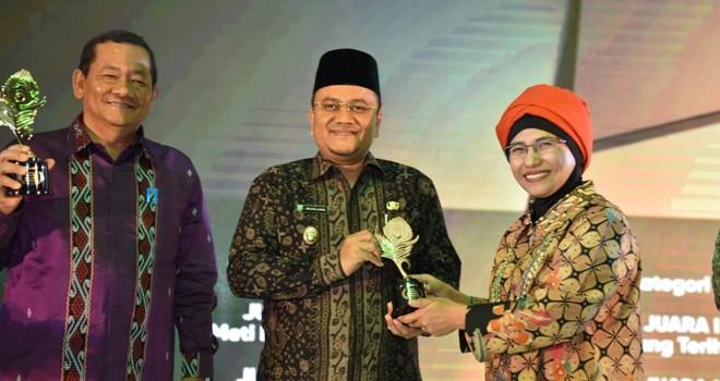Wawako Maulana saat menerima Penghargaan Anugerah Pesona Indonesia (API) Award tahun 2018 pada Kamis (22/11) malam kemarin.