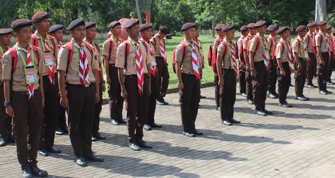 Peserta Diksar Satuan Reaksi Cepat Satuan Tugas Pramuka Peduli Darma Bakti 06 Kwarda Gerakan Pramuka Jambi saat mengikuti kegiatan.