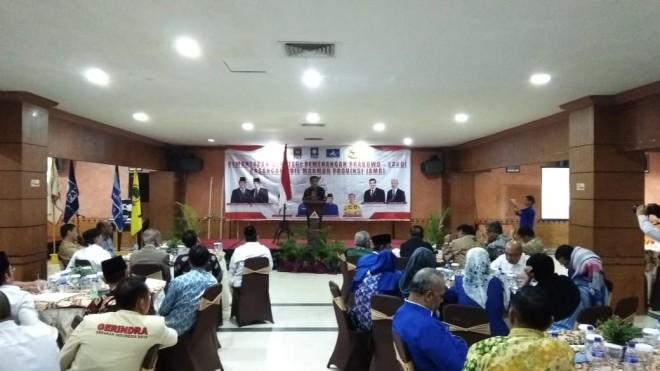 Acara Pemantapan Strategi Pemenangan Prabowo-Sandi Pasangan Adil Makmur Provinsi Jambi, di Grand Hotel Jambi.
