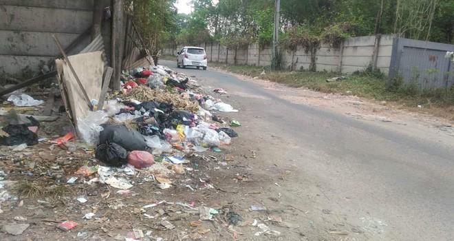 Walaupun sudah ada TPS, warga tetap membuang sampah di jalan dan ini mengganggu warga yang lewat. Foto : Ist