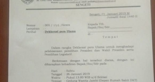 Surat undangan deklarasi undangan Dai yang sempat viral belakangan. Foto : Ist