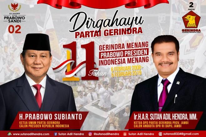 Ketua DPD Partai Gerindra Provinsi Jambi Sutan Adil Hendra (SAH).