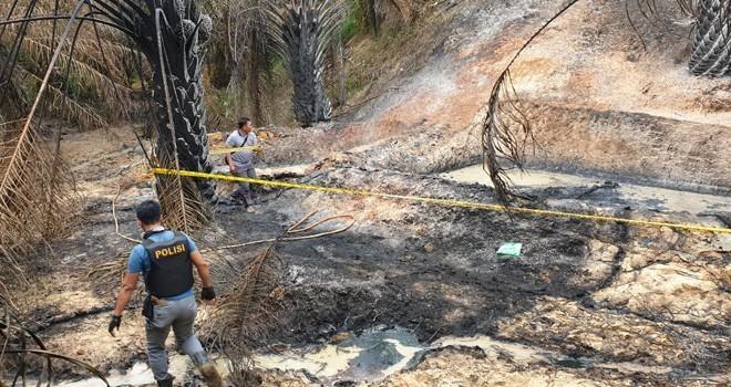 Lokasi Sumur minyak illegal di Desa Pompa Air, Kabupaten Batanghari yang terbakar beberapa waktu lalu. Foto : Dok Jambiupdate
