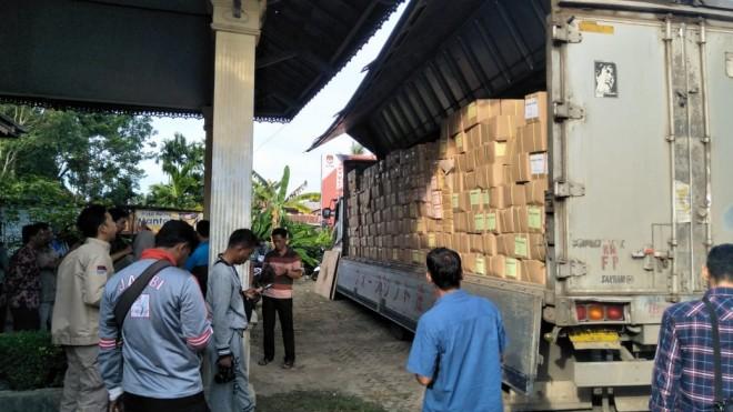 KPU Kota Jambi Terima Pengiriman Surat Suara Pemilu 2019. Foto : Ist