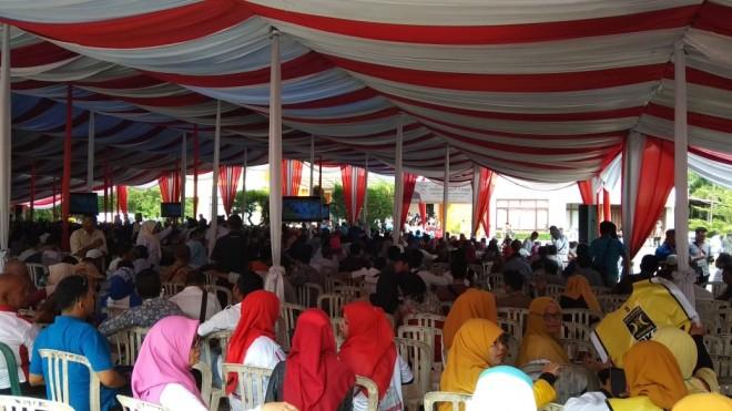 Acara tatap muka Prabowo dengan masyarakat yang akan berlangsung di Ratu Convention Center (RCC), Kota Jambi, 14/3).