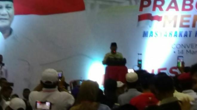 Capres Prabowo Subianto dalam pidatonya.