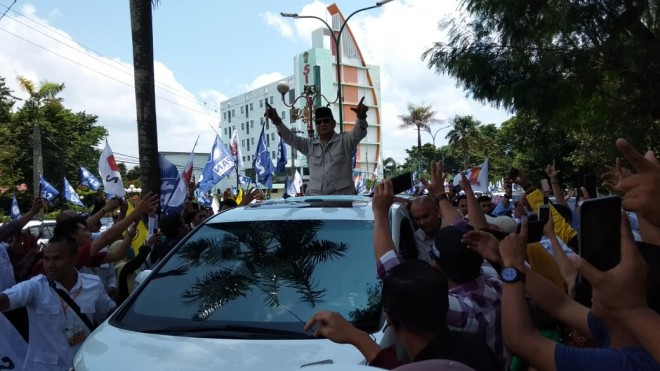 Kedatangan Capres Prabowo ke Provinsi Jambi, Kamis (14/3). Foto : Safwan / Jambiupdate