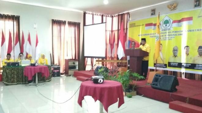 Pemantapan Saksi Caleg Partai Golkar se- Provinsi Jambi. Bertempat Hotel Golden Harvest Jambi, (16/3).