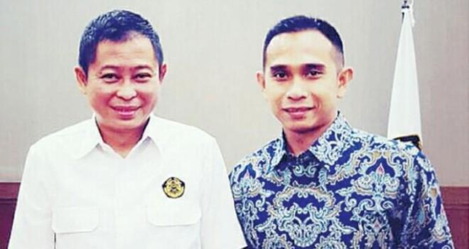 Dipo Nurhadi Ilham bersama Menteri Energi dan Sumber Daya Mineral (ESDM) Ignatius Jonan.