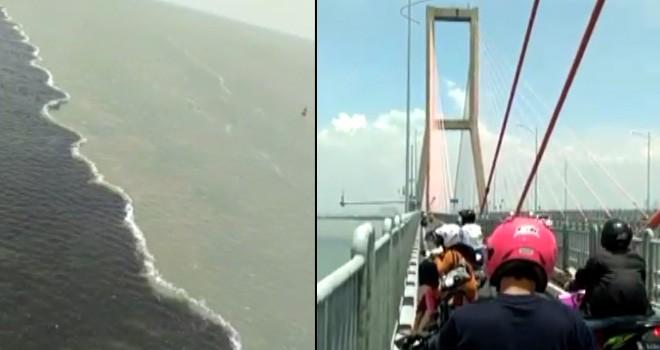 Air laut dua warna di Jembatan Suramadu.