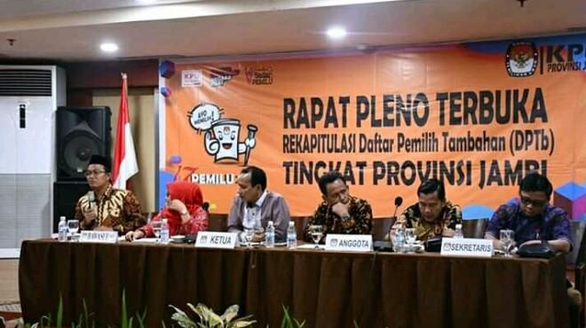 Komisi Pemilihan Umum (KPU) Provinsi Jambi  menetapkan Rapat Pleno Terbuka Daftar Pemilih Tambahan (DPTb) tahap 2 untuk Pemilihan Umum (Pemilu) 2019, Kamis (21/3).