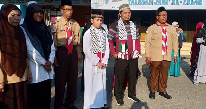 Nidal M Y Eldaia, Dai Cilik Gaza saat berdakwah di SD Islam Al Falah Jambi. Foto : Ist