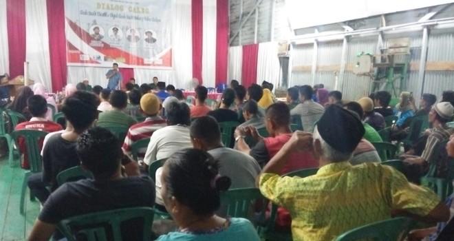 Dialog Calon Legislatif (Caleg) Dapil I untuk DPRD Kabupaten Tanjung Jabung Timur (Tanjabtim) yang dilaksanakan oleh perkumpulan mahasiswa, yakni Himpunan Mahasiswa Kuala Jambi (Himakuja), pada Sabtu (23/3). Foto : Ist