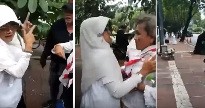 Emak emak pendukung Prabowo vs Jokowi berkelahi di Taman Suropati Jakarta.