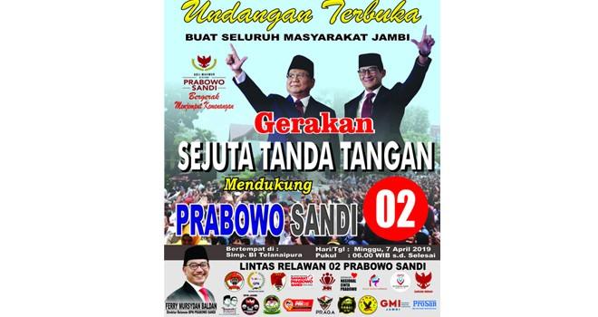 Relawan Prabowo-Sandi Jambi Bakal Gelar Aksi Sejuta Tanda Tangan.
