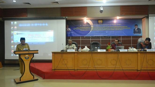 Gubernur Jambi Fachrori Umar, mengapresiasi dan menyambut baik rapat koordinasi manajemen kepegawaian, Selasa (9/4).