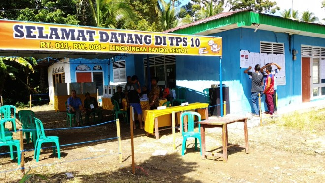 Pukul 11.30 WIB Pemungutan Suara di TPS 10 Dusun Bangko Baru Dimulai. Foto : Ist
