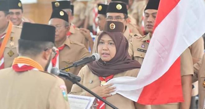 Bupati Masnah Hadiri Pelantikan Pengurus MPC,LPK, Kwarcab Pramuka Muarojambi. Foto : Ist