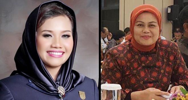 Calon Anggota DPD Nomor Urut 28, Dra. Hj. Elviana,M.Si (kiri) dan Ria Mayang Sari nomor urut 37 (kanan). Foto : Ist