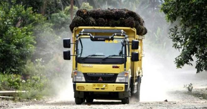 Seringnya truk pengangkut sawit yang melebih kapastitas di keluhkan warga Dusun Lubuk Landai dan Dusun Sungai Lilin, Kecamatan Tanah Sepenggal Lintas. Karena, jalan menjadi hancur dan berdebu. Foto : Ist