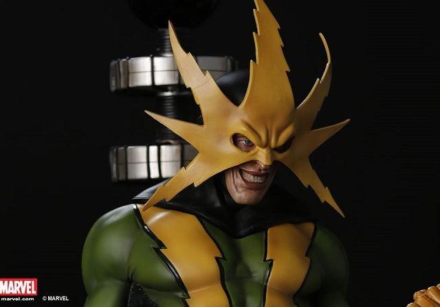Action figure atau karakter dalam salah satu komik Marvel, Electro. Action figure dengan skala 1:4 ini dibanderol SGD 950 atau setara Rp 9,8 juta (kurs 10.400). (www.xm-studios.com)