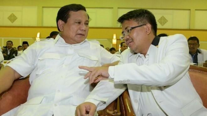 Ketua Umum Partai Gerindra Prabowo Subianto dan Presiden Partai Keadilan Sejahtera (PKS) M Sohibul Iman. (Foto: dok. JawaPos.com)