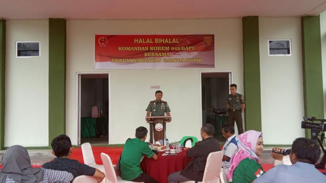 Halal Bihalal Antara Komandan Korem Dengan Forum Wartawan Garuda Putih (Forwagapu), Selasa (18/6).