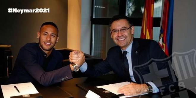 Neymar dan presiden Barcelona. Foto : Twitter