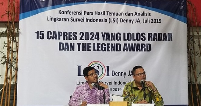 LSI Denny JA merilis 15 nama kandidat capres 2024. Foto : Fathan Sinaga / JPNN