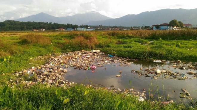 SAMPAH MENUMPUK:  Imbas dari penumpukan sampah, sawah warga menjadi rusak.