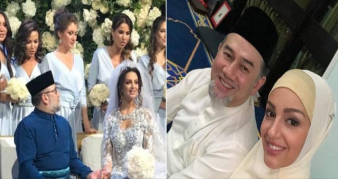 (Kanan) Resepsi pernikahan Sultan Muhammad V, (Kiri) Sultan Muhammad V bersama sang istri, Oksana Voevodina. Foto : NST.com