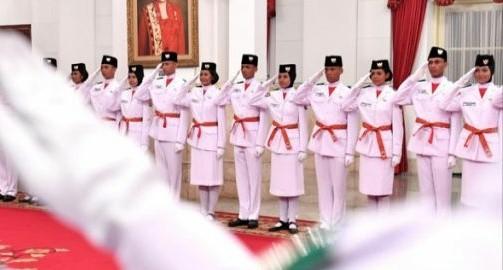 Anggota Paskibraka HUT RI ke 73 di Istana Negara. Foto : Setpres