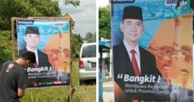 Baleho Sy Fasha dipasang oleh relawan di kawasan Singkut Sarolangun.