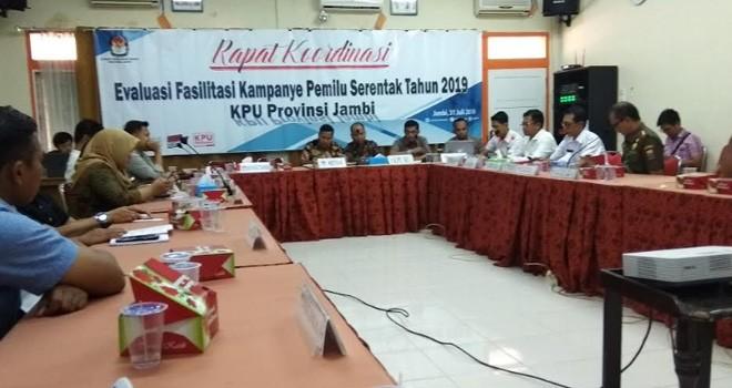 Komisi Pemilihan Umum (KPU) Provinsi Jambi, menggelar Rakor Evaluasi Fasilitasi Kampanye Serentak Pemilu 2019, Rabu (31/7).