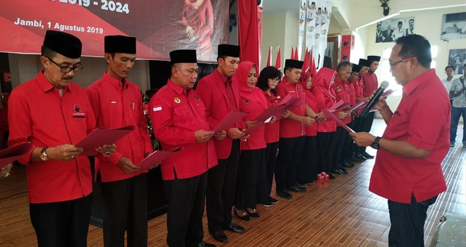 Pelantikan dipimpin langsung pengurus DPP, I Made Urip di rumah perjuangan di bilangan Haji Kamil, Kamis (1/8).