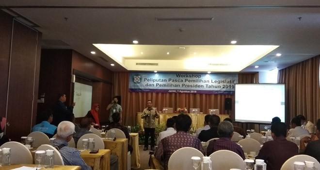 Dewan Pers menggelar Workshop Peliputan Pasca Pemilihan Legislatif (Pileg) dan Pemilihan Presiden (Pilpres) 2019 lalu, bertempat di Hotel Aston Jambi, Kamis (1/8). Foto : Safwan / Jambiupdate
