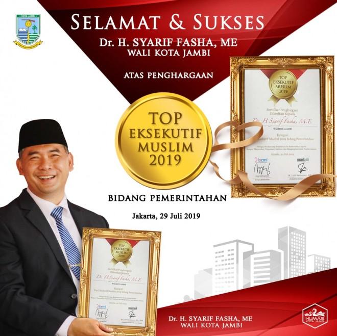 Wapres Anugerahi TOP Eksekutif Muslim Kepada Wali Kota Jambi Syarif Fasha.