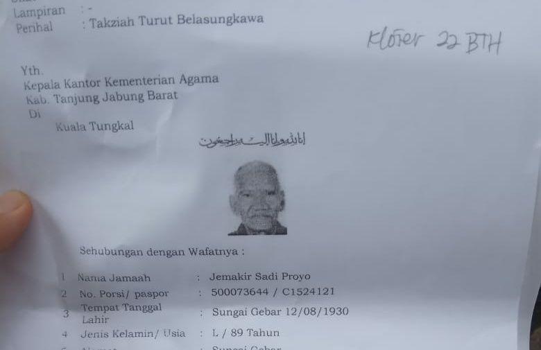 Jamah Haji Jambi Wafat Selama Pelaksanaan Wukuf.
