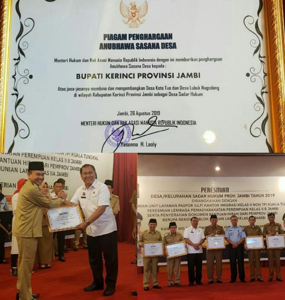 Bupati Adirozal Terima Penghargaan dari Kemenkumham RI.