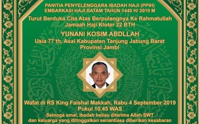 Satu Jamaah Haji Asal Tanjab Barat Meninggal Dunia.